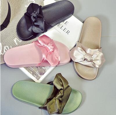 brand new aefcf 1b4ca Rihanna Fenty Bow Slide/ Casual Sandals/ Slipper/ Ribbon/ Platform Sandals/  Look Slim