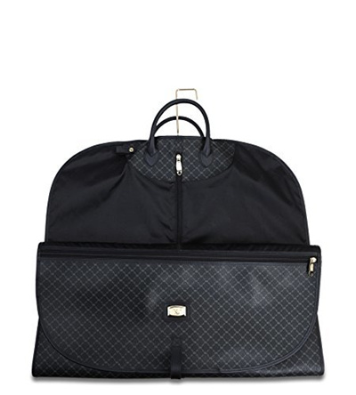 Rioni Signature Black Leather Canvas Zip Up Travel Garment Bag Stb20179