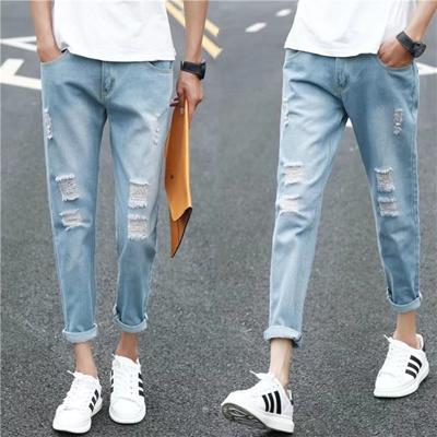 a91266a3 Ripped jeans men s feet. Type nine pants pants men fashion all-match new