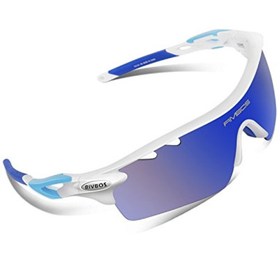 576a33a4c48 RIVBOS 801 Polarized Sports Sunglasses Sun Glasses with 5 Interchangeable Lenses  for Men Women Baseb