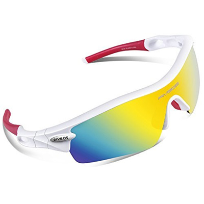c5d6e5f28b RIVBOS 805 POLARIZED Sports Sunglasses with 5 Set Interchangeable Lenses  for Cycling (WhiteRed)