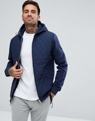 Qoo10 River Island Quilted Jacket With Hood In Navy Mens Clothing