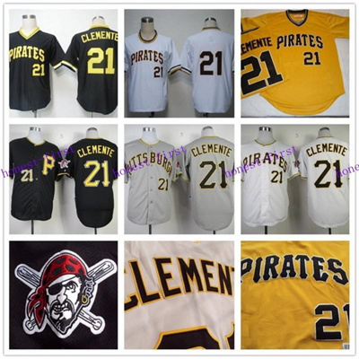 the latest 90069 33167 Roberto Clemente Jersey Pullover throwback White Black Yellow G