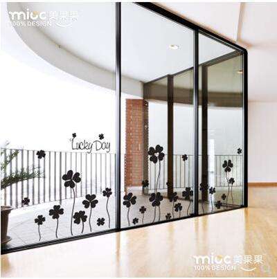 Qoo10 Romance Clover Wall Sticker Shop Glass Door Sticker Window