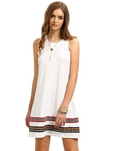 1094d1829669 Qoo10 - ROMWE Womens Casual T-Shirt Sleeveless Swing Dress Tunic Tank Top  Dres...   Women s Clothing