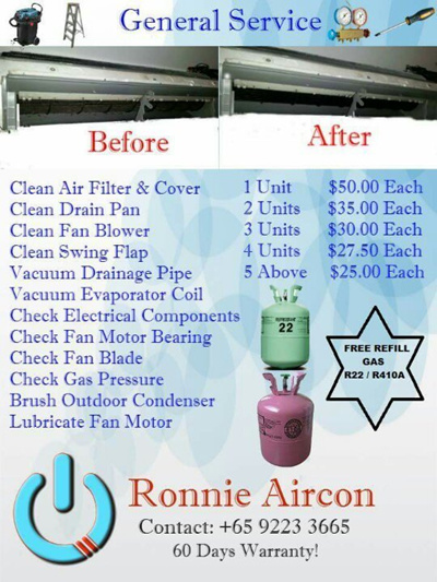 Qoo10 - Aircon Service [PROMOTION] Free Refill Gas R22 / R410A