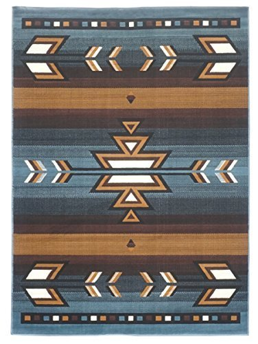 Rugs 4 Less Collection Southwest Native American Indian Area Rug Design R4l Sw1 In Light Blue