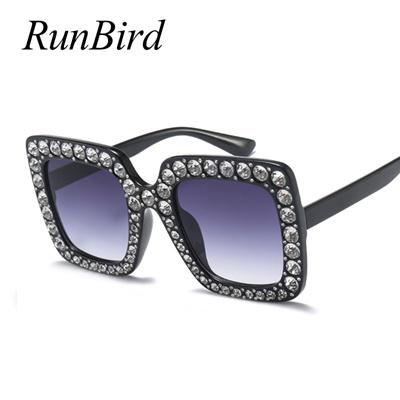 16e2f03616 Qoo10 - runbird rhinestone square frame big sunglasses women luxury brand  blac...   Fashion Accessor.
