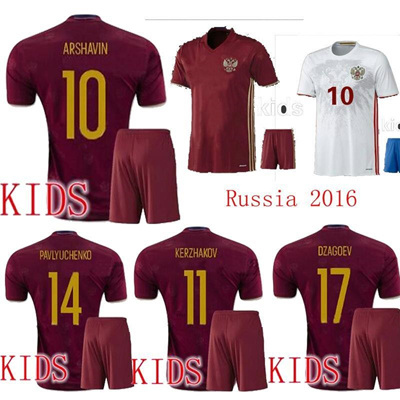 competitive price 4074e 8ec27 Russia Kids Euro Soccer jersey 2016 ARSHAVIN home red away white KERZHAKOV  PAVLYUCHENKO Russia child