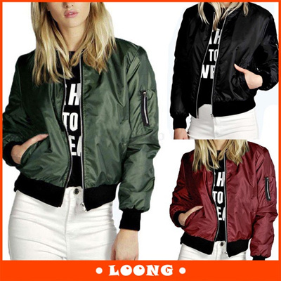 39a1e527c9a S-4XL Womens Classic Quilted Jacket Short Padded Bomber Jacket Coat( Black  Army green