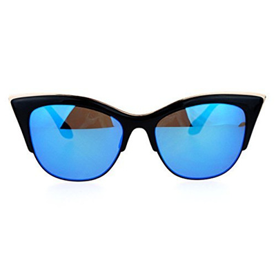 c2a27b150f2f Show All Item Images. close. fit to viewer. prev next. SA106 Womens High  Point Squared Half Rim Look Cat Eye Sunglasses Black Blue