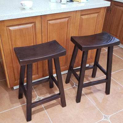Saddle Bar Stool Wood Restaurant Restaurant Kitchen Bar Chair Black Solid Wood Leisure Bar Stool Nor