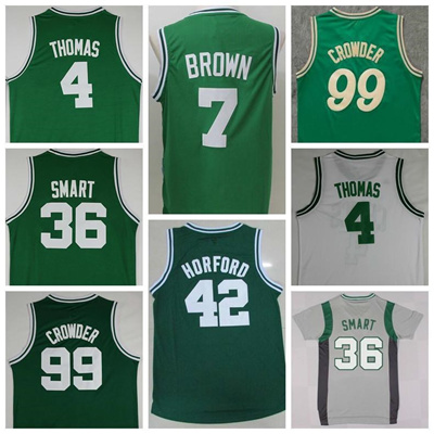 purchase cheap 191bb 8aab5 Sale 7 Jaylen Brown Uniforms 4 Isaiah Thomas 42 Al Horford Jersey Shirt 36  Marcus Smart 99 Jae Crowd