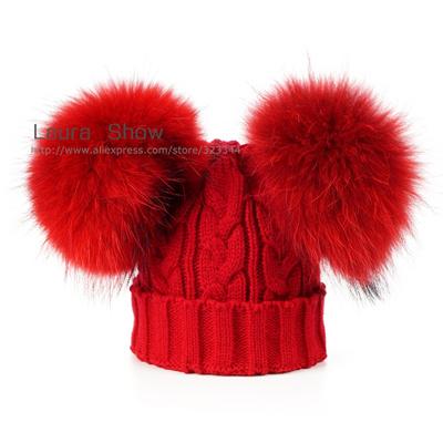 ed0aaf670eb Qoo10 - sale LAURASHOW Baby Winter Real Mink Fur Ball Beanie Knit Hat Kids  War...   Kids Fashion