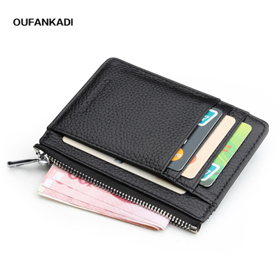 bf7d71d03d sale Oufankadi Men Womens Card Holder Genuine Leather Cute Zipper Card  Wallet Small Purse for Men Ca