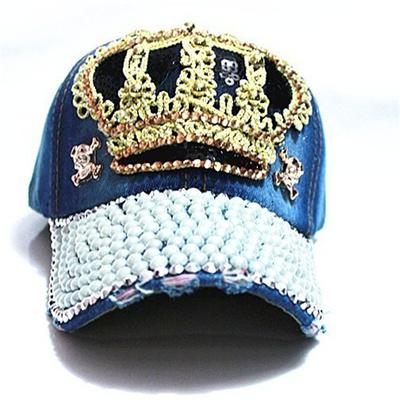 sale  Rancyword  Women Denim snapback Hat Lady jean hat Point drill pearl  cowboy hat 886e72850d7a