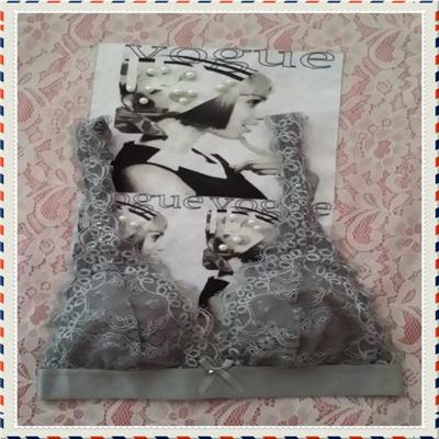 bb9cb3e881453 Qoo10 - Silver Lace Bralette   Underwear   Socks