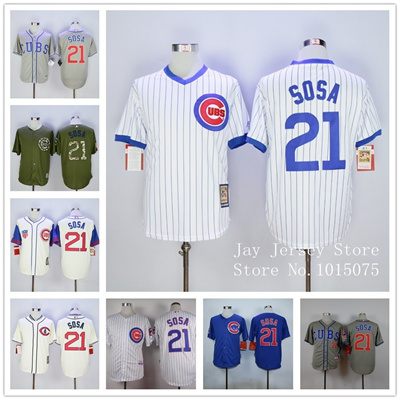 premium selection b17d0 5f6fe Sammy Sosa Jersey New Cool Base 1988 Pullover Chicago Cubs Jerseys White  Pinstripe Grey Blue