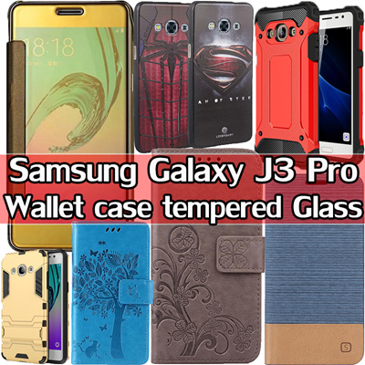 sports shoes f686e 154be Samsung Galaxy J3 Pro J3 J3 2017 Flip Case Clear TPU Tempered Glass For  Samsung Galaxy J3 Pro case