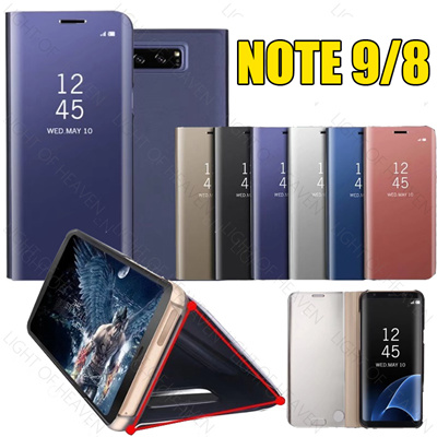 new style 84ca6 9c6d8 Samsung Galaxy note 9 8 S8 S10 Plus Clear View Flip Cases Electroplating  Mirror Phone PC Case