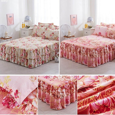 Qoo10 Sanding Thickened Bed Skirt Dual Layers Bed Cover Fitted