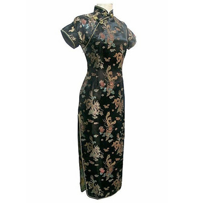 Qoo10 Satin Long Cheongsam Qipao Traditional Chinese Dress Plus