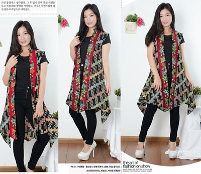 Sb Collection Atasan Blouse Vitria Blazer Outer Cardigan Bolero Rompi Batik Wanita