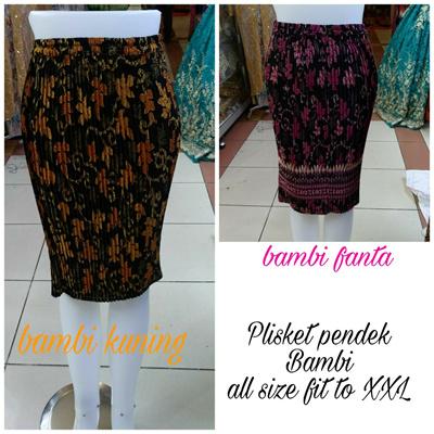SB Collection Rok Pendek Wenny Midi Batik Plisket Jumbo Wanita