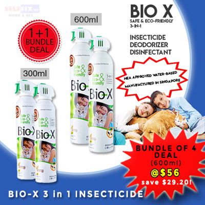 SELFFIX COUPONBio-X 3 in 1 in 300ml/600ml aerosol spray can  【Insecticide】【Disinfectant】【Deodorizer】【Repellent】