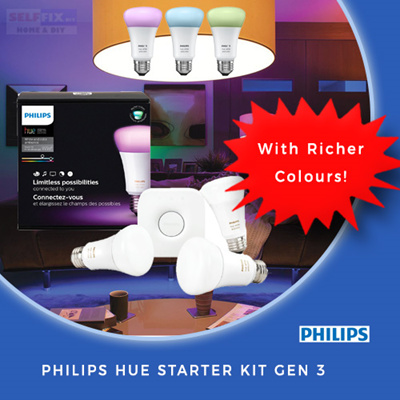 SELFFIX COUPON【Philips】Hue White and Color Ambiance A19 Starter Kit - Gen 3  with Richer Colors!