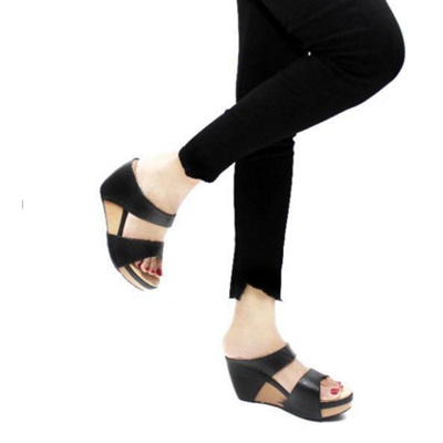 Sepatu wedges sandal wedges wanita heels hitam SS1146 hitam