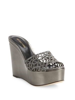 f3f36a2e9 Qoo10 - Sergio Rossi Tresor Swarovski Crystal Metallic Leather Wedge Sandals    Shoes