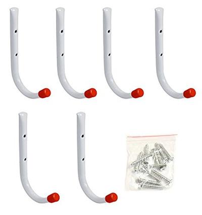Set Of 6 Metal Garage Wall Hooks 7 Long Hangers Multipurpose