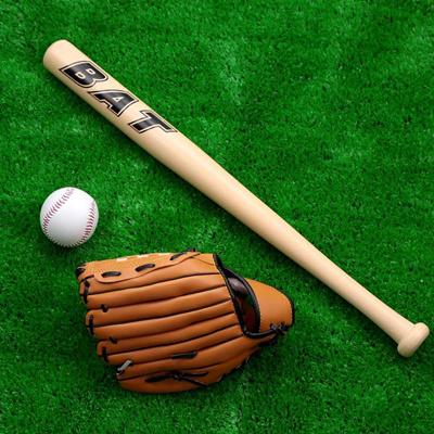 Set Of Wooden Bat Glove Ball Baseball Softball For Kids Practice Training