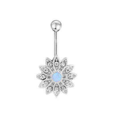 Sexy 316l Surgical Steel Belly Ring Opal Inlay Navel Ring Belly Button Ring