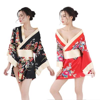 a983ae41d7d Sexy Deep V-neck Kimono Japanese Traditional Japon Kimono Women Satin  Floral Printed Nightwear Short