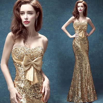 Qoo10 Sexy Evening Gown Gold Color Womens Clothing
