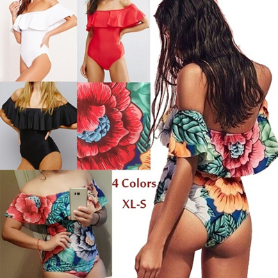 69807ff60b9d2 Sexy Floral Off Shoulder Swim Wear Lady High Cut Bathing Suit Ruffle Plus  Size Monokini Thong