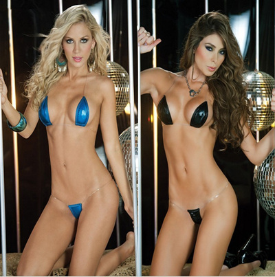 Sexy Lingerie Sexy Beach Babes With Imitation Leather Game Costume Tempting Three Set Women