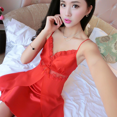Qoo10 - Sexy silk nightdress summer temptations lingerie straps lace  nightdres...   Women s Clothing 85de1b42a