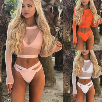 6197cf4608 Qoo10 - Sexy Women Bikini Set Long Sleeve Bikini Cover-Up Women Fashion  Split ... : Women's Clothing