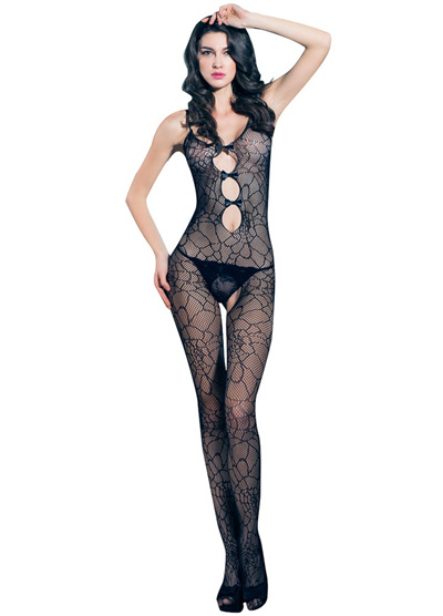 2eea16544f8d Sexy Women Bowknot Fishnet Lingerie Bodystockings Sheer Mesh Cut Out  Crotchless Erotic Bodysuit Slee