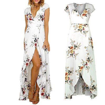 Sexy Women Summer Fashion Boho Maxi Dress Split Ends Elegant Evening Party  Long Dress Beach Dress 7dbf5c10e
