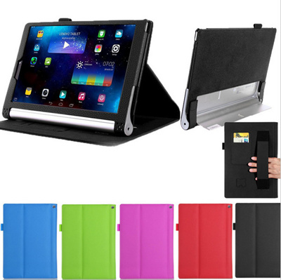 brand new 6ef28 06198 SG For Lenovo Yoga Tablet 2 10 inch Tablet 1050/1051 Leather Stand Folio  Case Cover (Elastic Hand Strap Multi-Angle Card Holder)