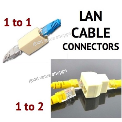 [sg] lan ethernet cable connector 1 to 1 or 2 splitter rj45 cat5e /