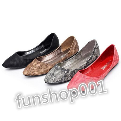 5c6a222df13f4 Shallow mouth pointed shoes with flat shoes snake pattern black flat shoes  scoop drive large size 40