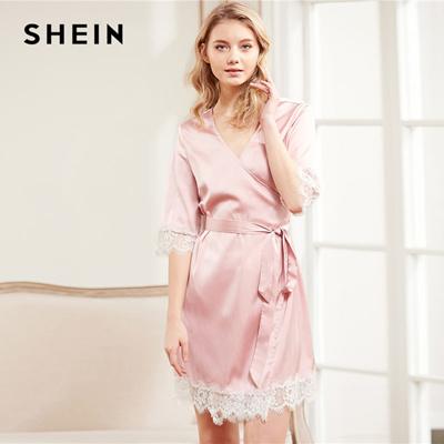 671226d7b1 Qoo10 - SHEIN Eyelash Lace Trim Surplice Wrap Nightdress Pink V Neck Half  Slee... : Underwear & Sock.