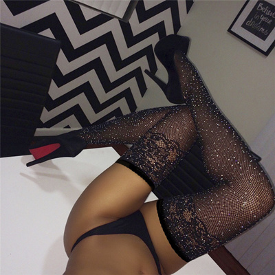aafb02bbb33 Qoo10 - Shiny Crystal Rhinestone Mesh Pantyhose Plus Size Sexy Fishnet  Tights ...   Underwear   Sock.