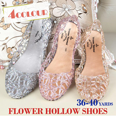 701b5aa7a8cd93 Qoo10 - Shiny flower hollow shoes Flat with crystal plastic sandals Jelly  shoe...   Shoes