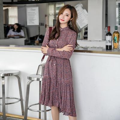 6ad1c5a66 shoot shredded flower Chiffon dress 2018 autumn/winter new korean style  before short rear long serie
